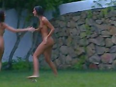 Russian coeds watersports in the garden