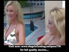 Two blonde lesbian lovers in bikini walking and talking with hot babe