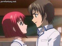 Teen hentai redhead making love