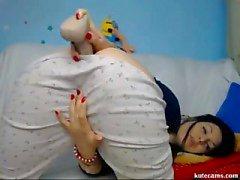 Horny Babe Enjoys Dildoing In Bedroom