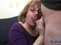 Slutty granny Molly sucks a stiff dick