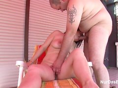 Step-Son Seduce Mother to Fuck outdoor while Sunbathing