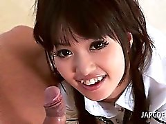 Asian teenage beauty orally pleasing cock in POV style