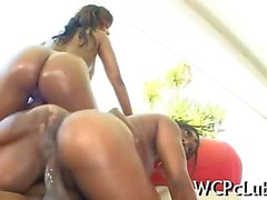 Wild ebony babes bouncing big asses and fucking