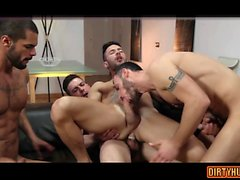 Muscle gay foursome with anal cumshot