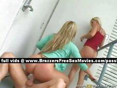 Two blonde teen girls outside