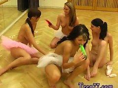 Small blonde teen cheerleader Hot ballet dame orgy