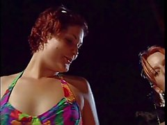 Lesbian cheerleaders munch pussy by the pool