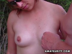 Amateur girlfriend sucks outdoor with huge facial cumshot