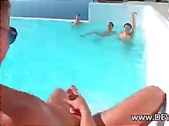 Three babes one lucky guy in pool