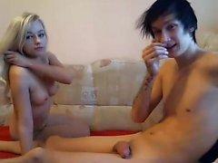 Hot blonde sucks her bf heavy penis that is huge on cam