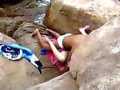 behind goa beach rocks hidden