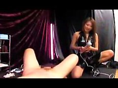 Kinky guy has a sultry Japanese mistress pegging his fiery