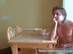 Nasty brunette slut gets horny talking