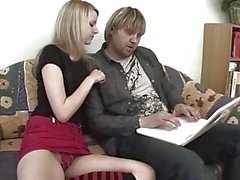Petite Blonde Stepdaughter Couch Fucks Her Stepdad