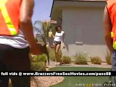 Horny brunette slut at home looks at two workers