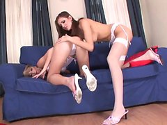 Hot lesbians in stockings have hardcore toy fuck