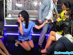 CFNM pissing babes in reverse gangbang party