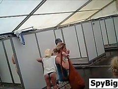 Hidden Camera Spying In A Public Shower