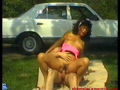 MILF rides & blows dick outdoor till cumming into pussy