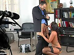 Exotic babe Cipriana gives head to boss in the office