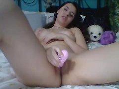 Brunette camgirl show de webcam em directo com brinquedos o