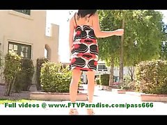 Danica gorgeous brunette woman posing outdoor and having fun