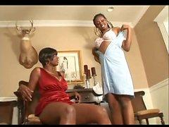 Black mistress and black maid loving their lesbian feet