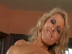 Blonde with nice boobs gets fucked hard by stud on the couch