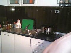 british cam-slut cleans the kitchen