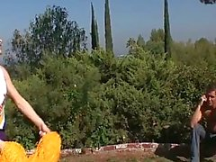 Super cute blonde teen cheerleader fucking outside