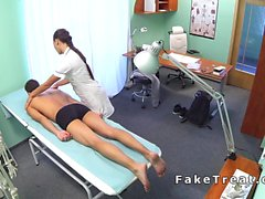 Nurse massages andbangs patient