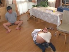 Japanese schoolgirl takes the key from her brother 's cock with her mouth 1