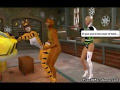 Two 3D cartoon furries getting caught in the act