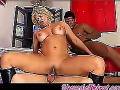 Blonde hot tgirl in exiting threesome