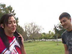 Older guy gives hot cheerleader a hot workout after...