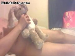 Weird guy fucking a rabbit toy