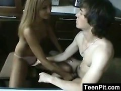 Teen Couple In The Kitchen