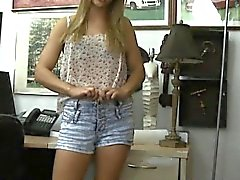 Babe in glasses sells her bags and banged at the pawnshop