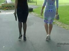 Admire these two elegant, sexy and stylish babes with their beautiful high heel shoes on