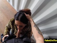 British beauty blowing fake policemans cock