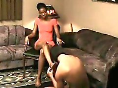 Ebony Feet Worshipping By A Male Slave