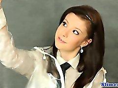 Masturbating gloryhole schoolgirl getting WAM