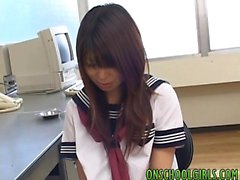 Asian schoolgirl gets horny pussy teased with sex toys in cl
