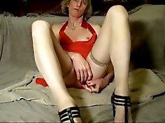 Crossdresser Jackie wants a hard cock, eats her own cum