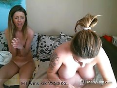 Two naked bi friends are on live cam masturbating and watch