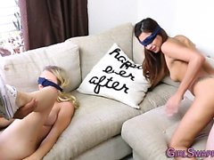 Blindfolded teens facial