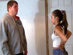 Fat Brother Seduce her Young Petite Sister when Home Alone