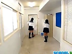Schoolgirls enjoying one large dick