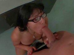 Sexy milf teacher gives blowjob